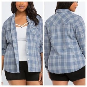 TORRID blue gray plaid camp shirt 1X
